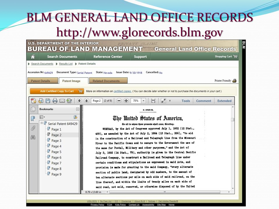 BLM GENERAL LAND OFFICE RECORDS http://www.glorecords.blm.gov