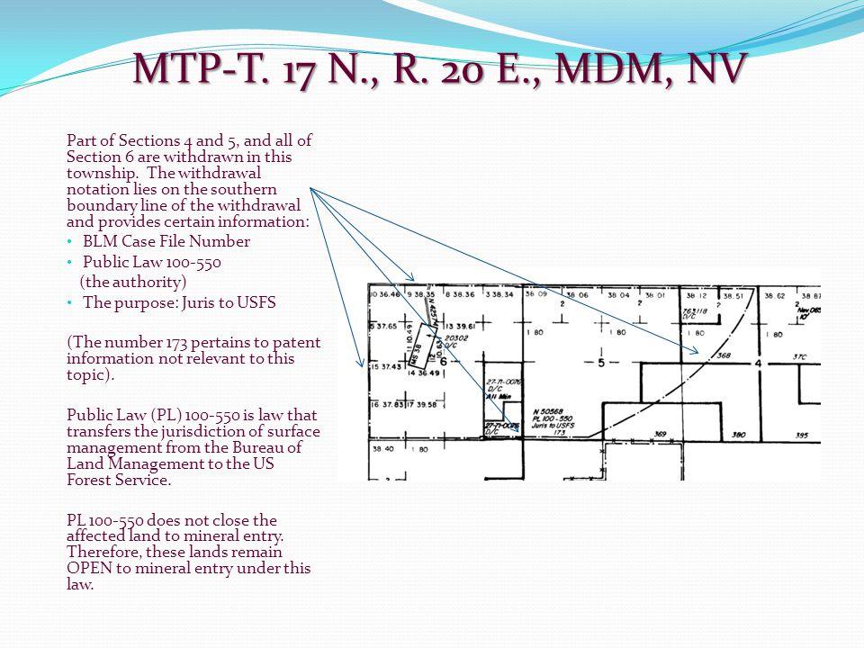 MTP-T. 17 N., R. 20 E., MDM, NV