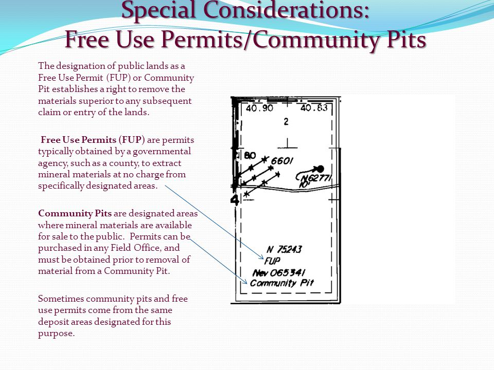 Special Considerations: Free Use Permits/Community Pits