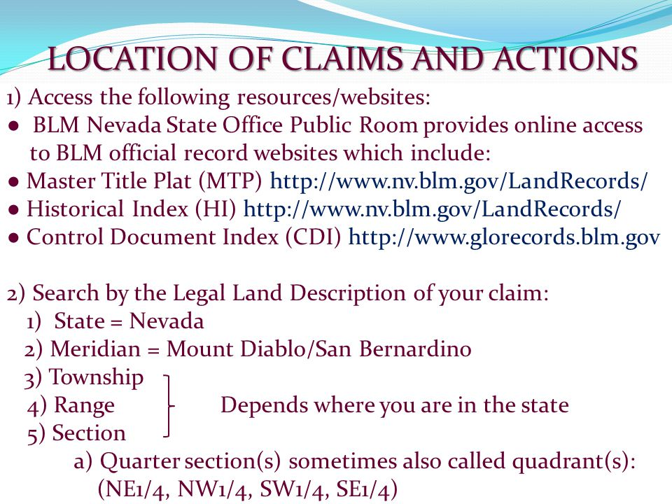 LOCATION OF CLAIMS AND ACTIONS