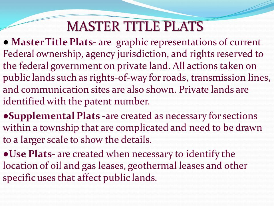 MASTER TITLE PLATS
