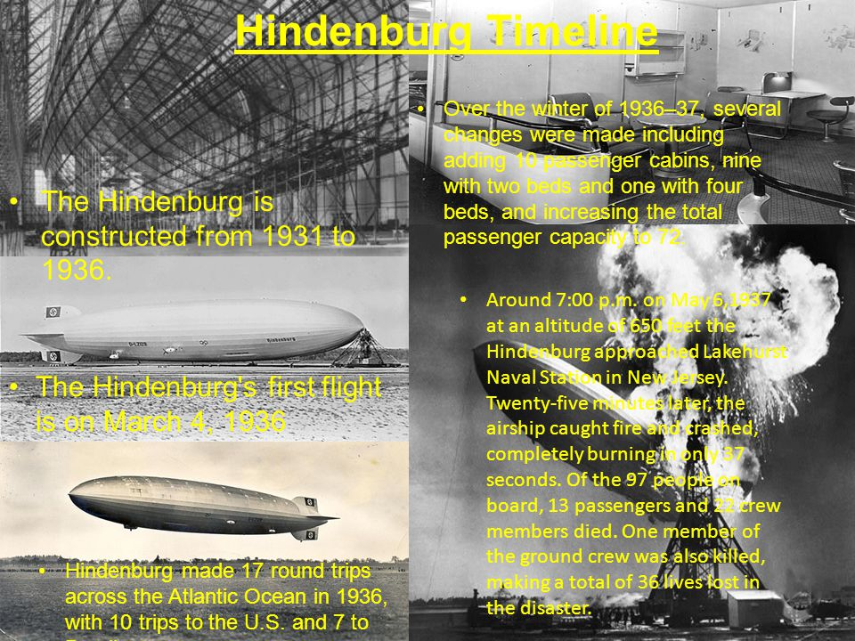 Hindenburg Timeline The Hindenburg is constructed from 1931 to 1936.