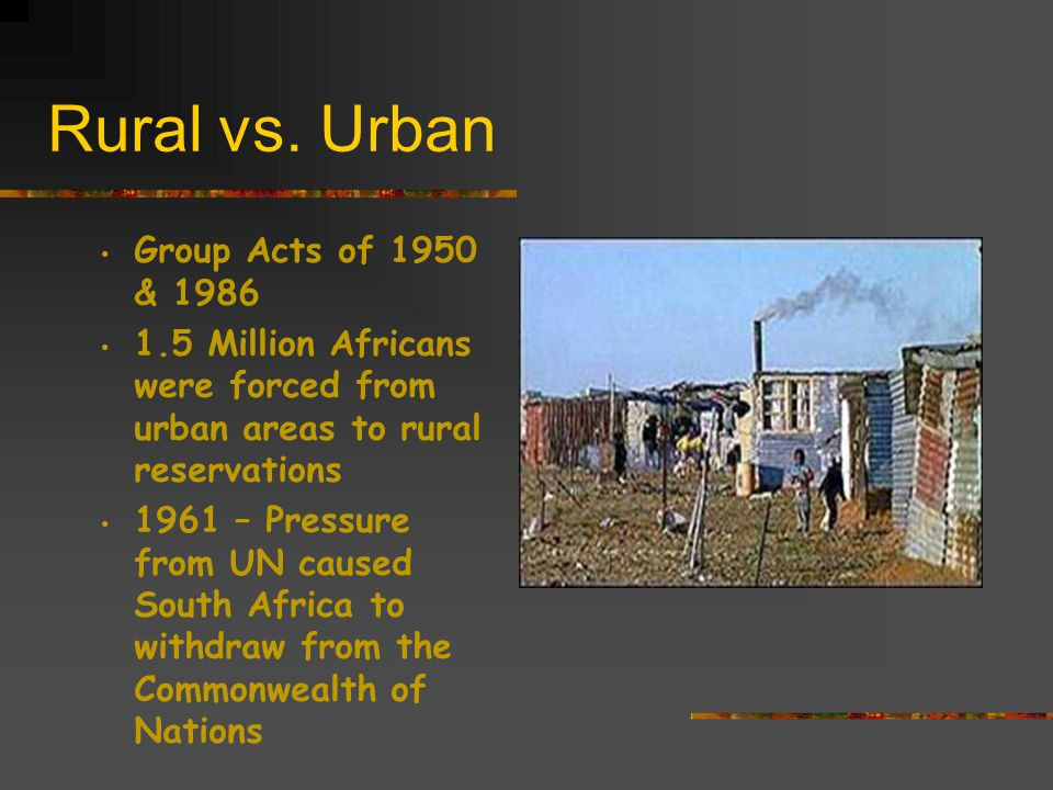 Rural vs. Urban Group Acts of 1950 & 1986