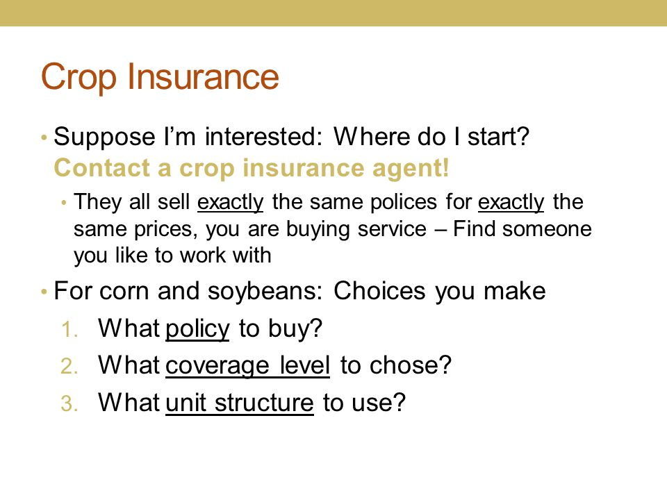 Crop Insurance Suppose I'm interested: Where do I start Contact a crop insurance agent!