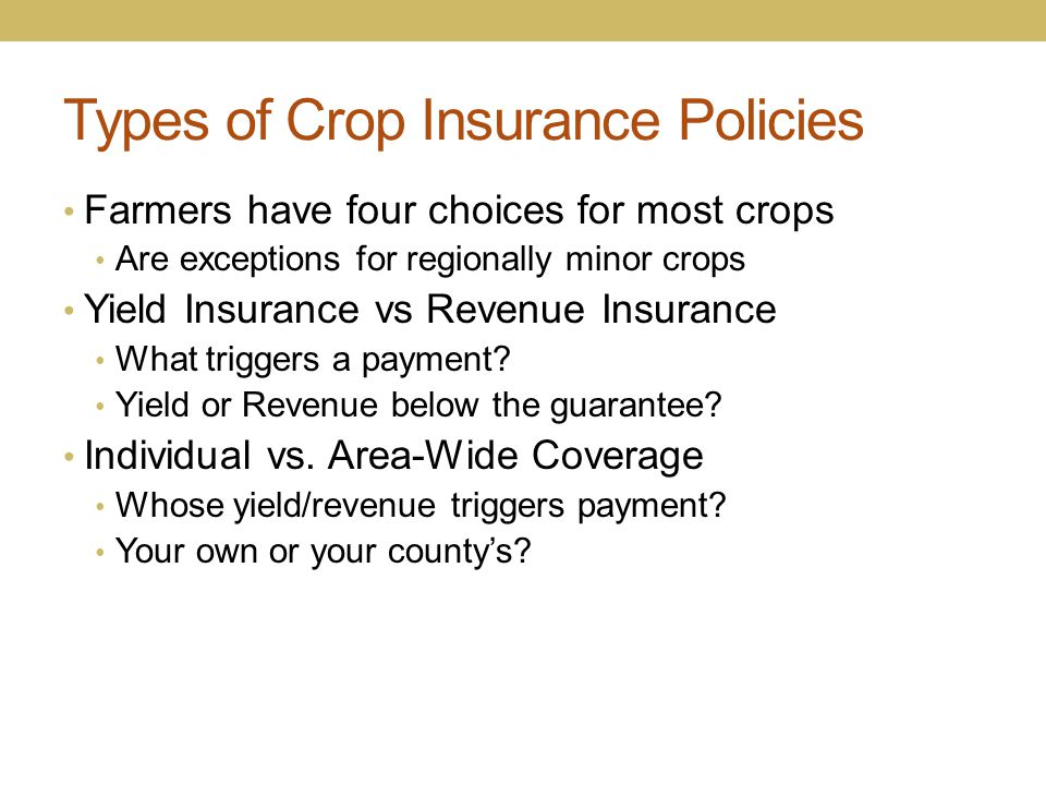 Types of Crop Insurance Policies