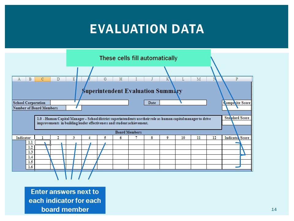 Evaluation Data These cells fill automatically.