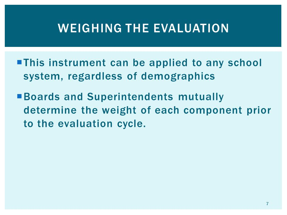 Weighing the evaluation