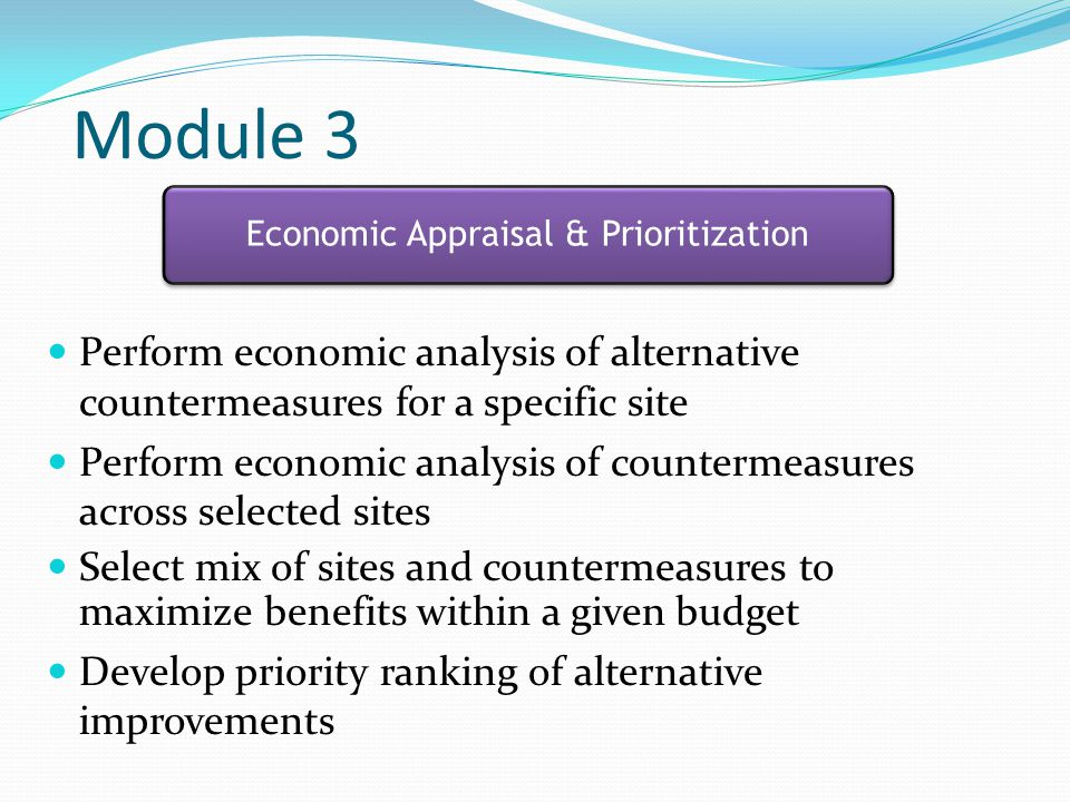 Economic Appraisal & Prioritization
