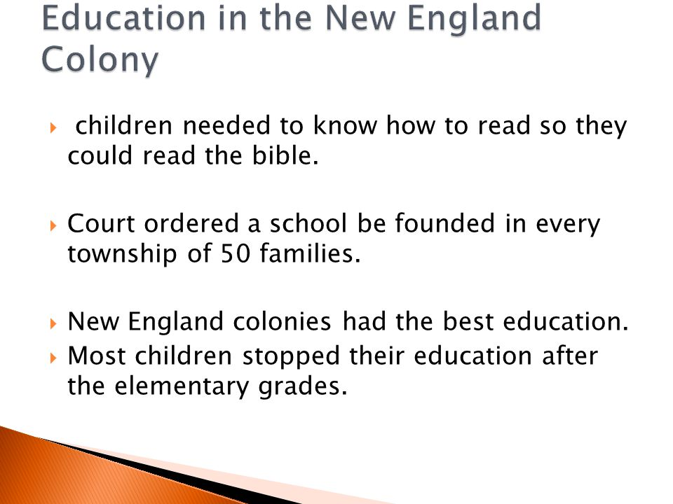 Education in the New England Colony