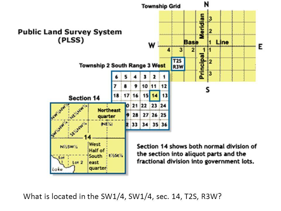 W What is located in the SW1/4, SW1/4, sec. 14, T2S, R3W
