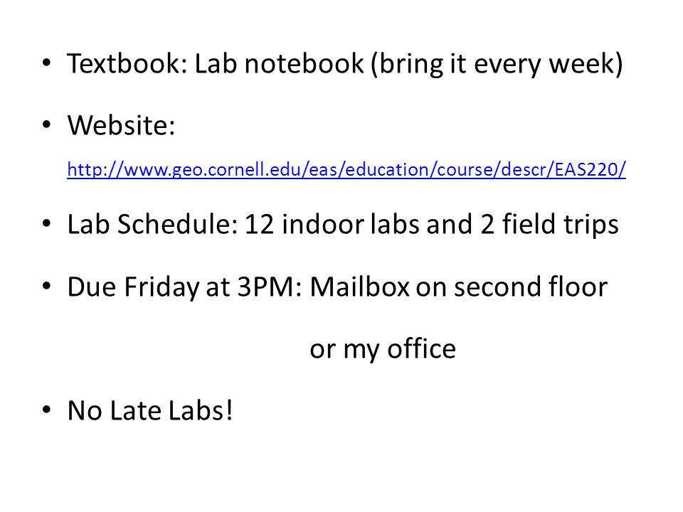 Textbook: Lab notebook (bring it every week)
