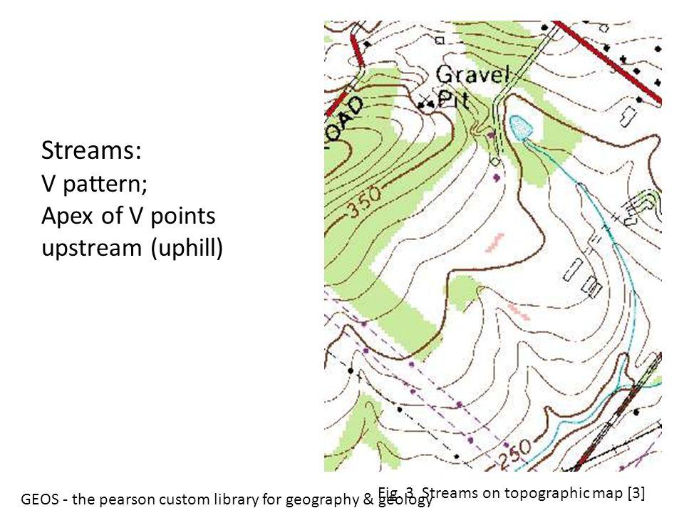 Streams: V pattern; Apex of V points upstream (uphill)