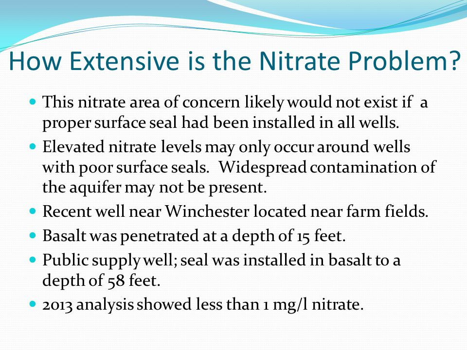 How Extensive is the Nitrate Problem