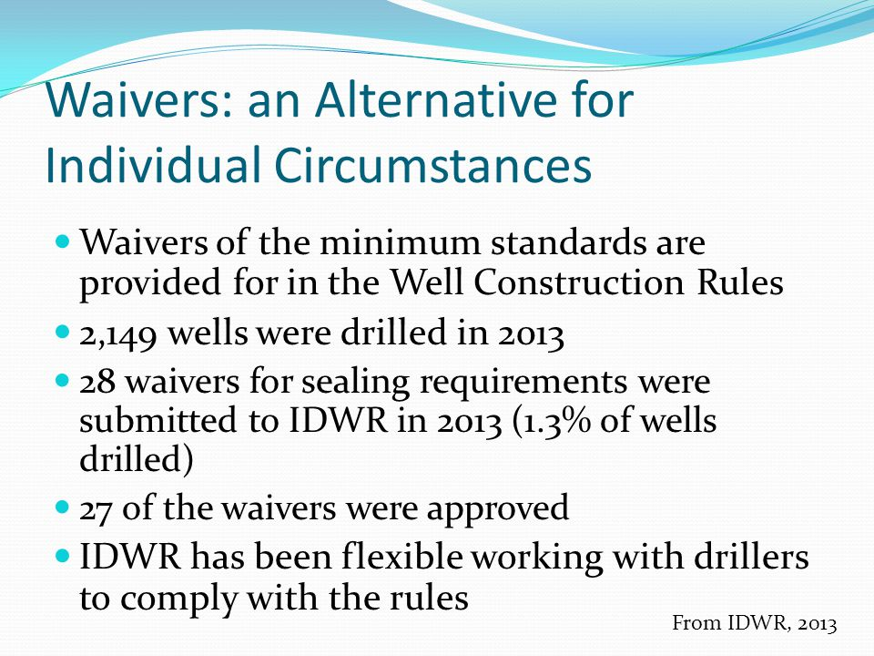Waivers: an Alternative for Individual Circumstances