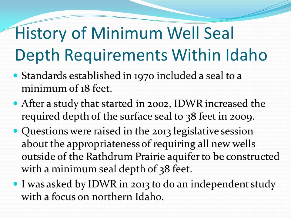 History of Minimum Well Seal Depth Requirements Within Idaho