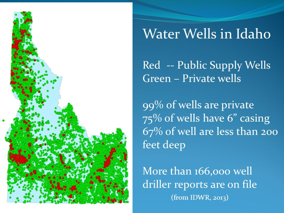 Water Wells in Idaho Red -- Public Supply Wells Green – Private wells
