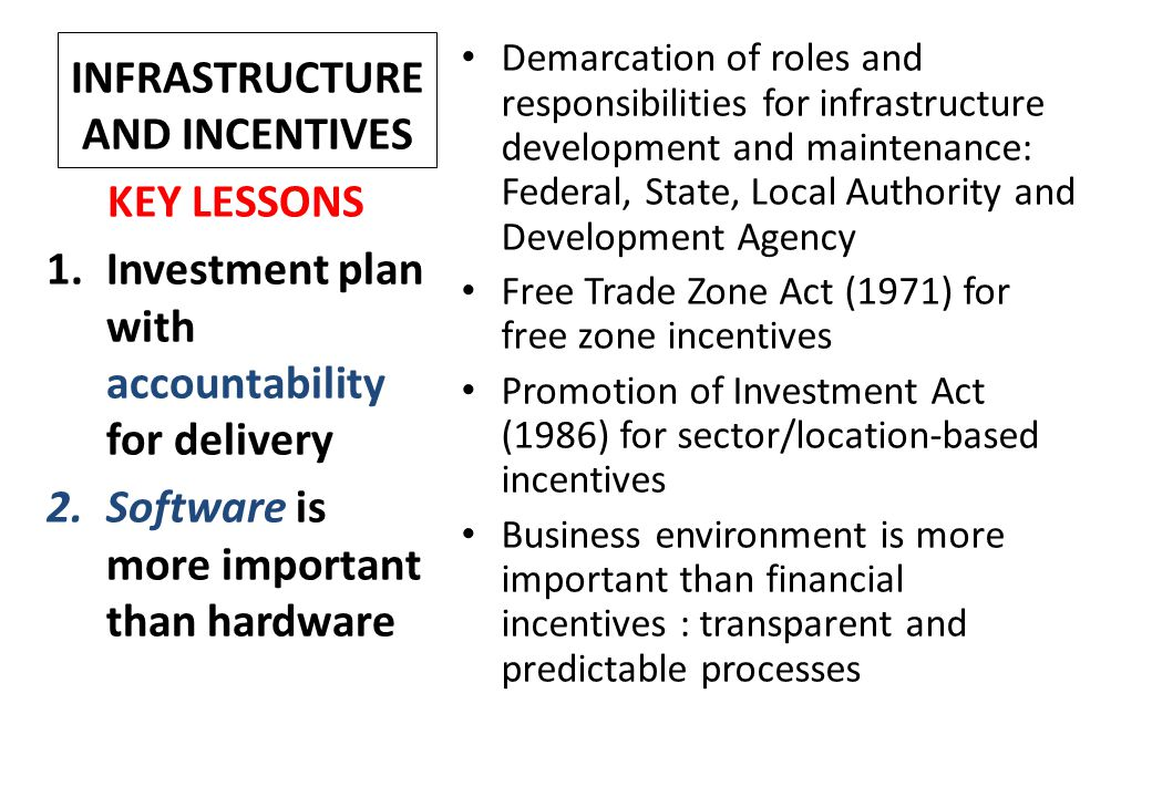 INFRASTRUCTURE AND INCENTIVES