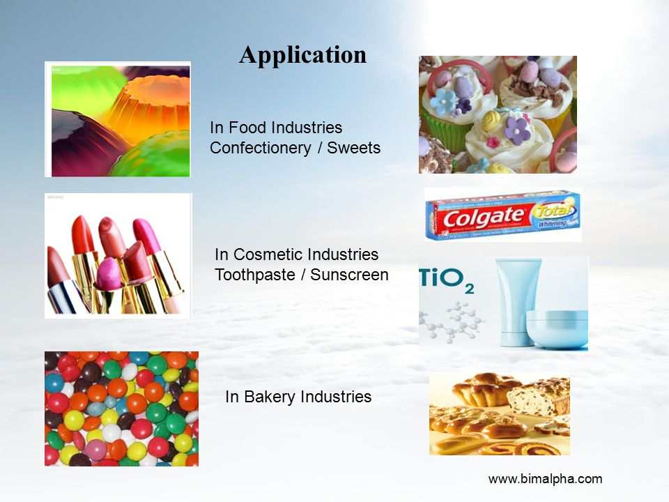 Application In Food Industries Confectionery / Sweets