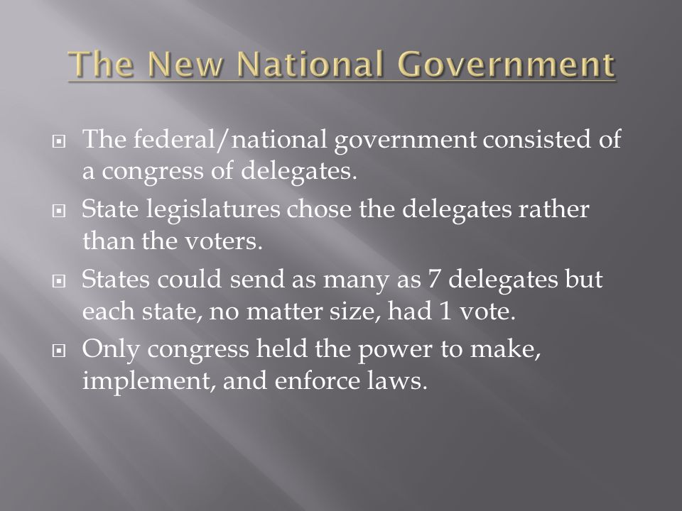 The New National Government