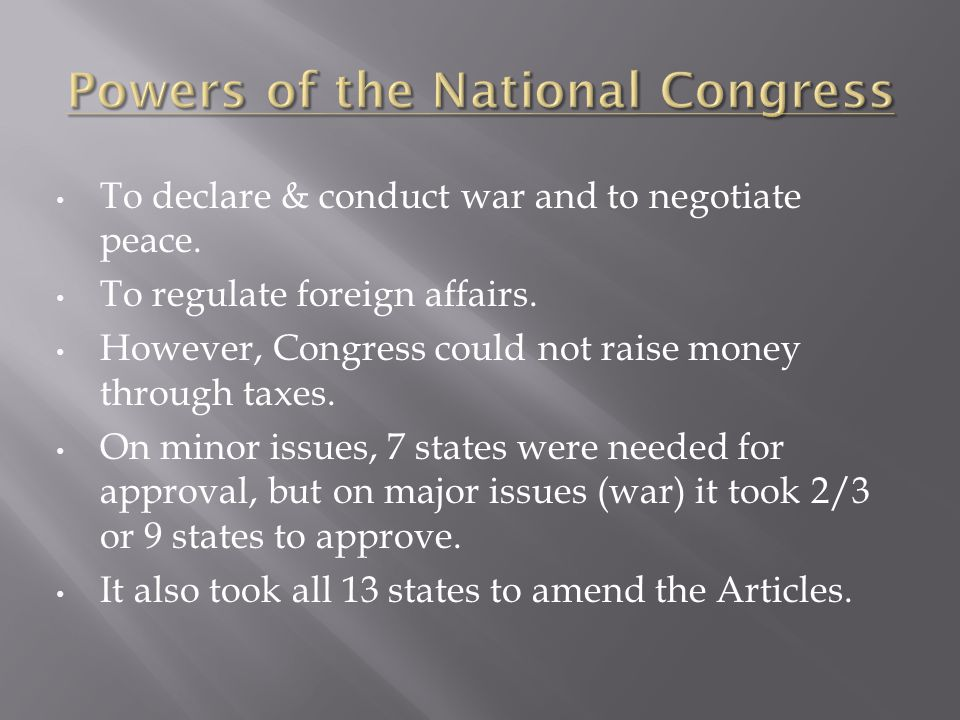 Powers of the National Congress