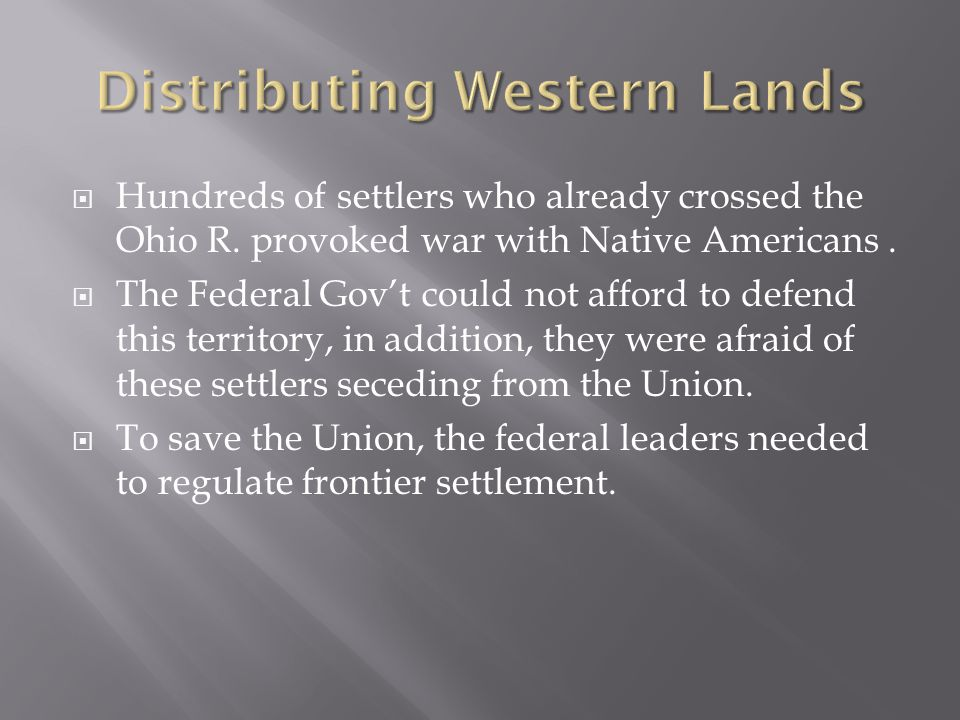 Distributing Western Lands