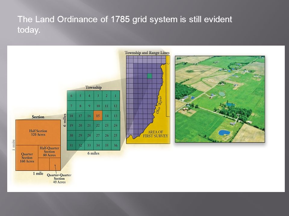 The Land Ordinance of 1785 grid system is still evident today.