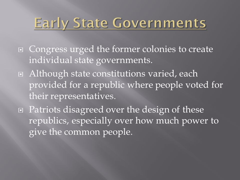 Early State Governments