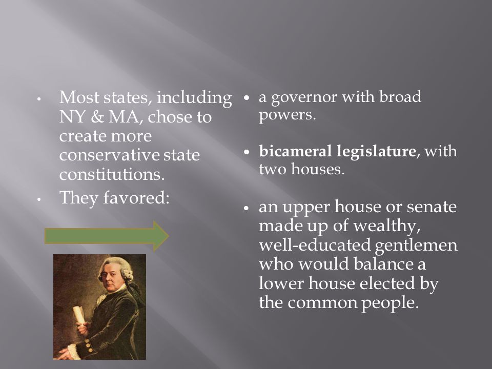 Most states, including NY & MA, chose to create more conservative state constitutions.