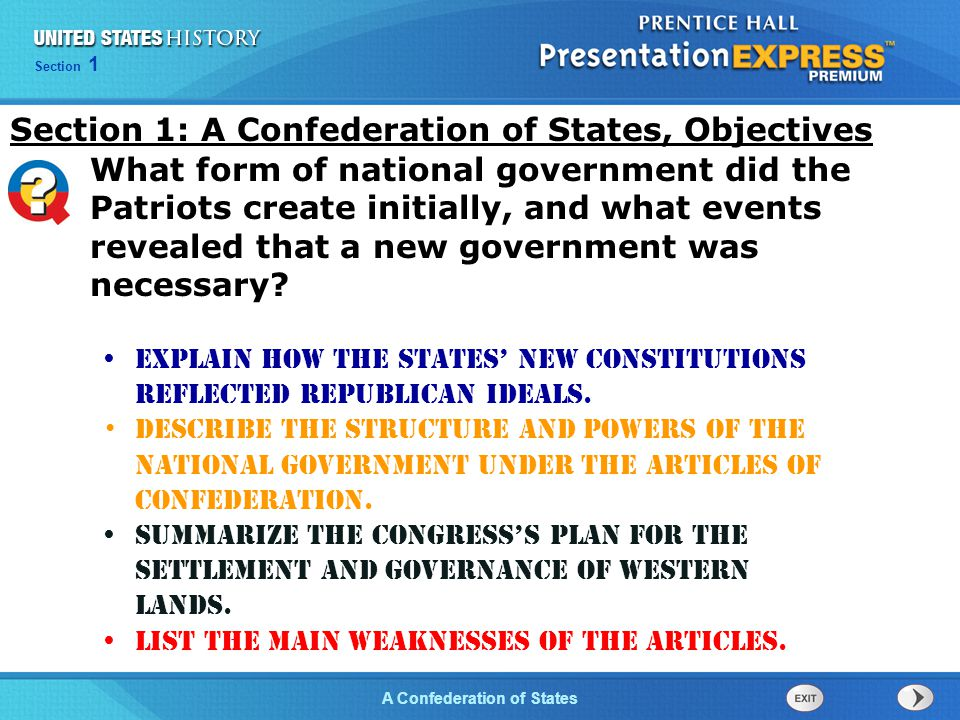 Section 1: A Confederation of States, Objectives