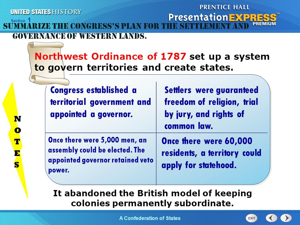 Summarize the Congress's plan for the settlement and governance of western lands.