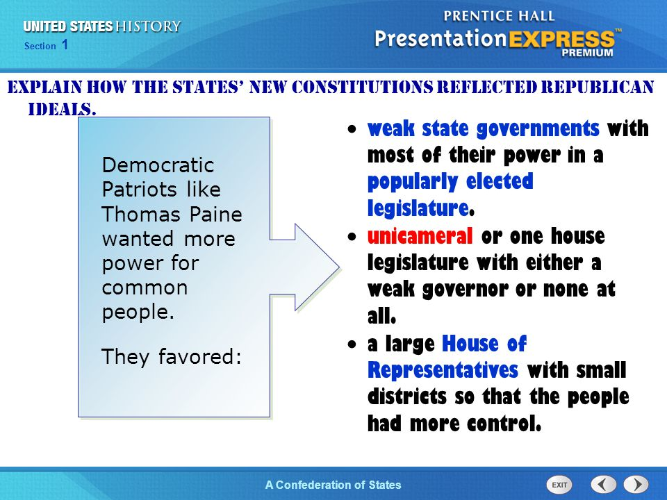 Explain how the states' new constitutions reflected republican ideals.