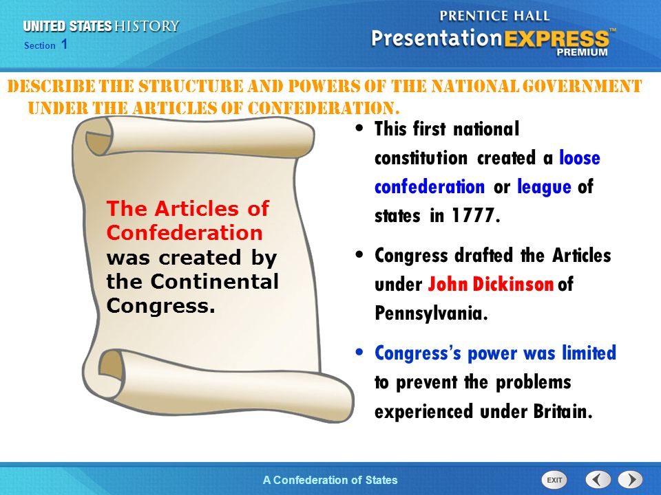 Congress drafted the Articles under John Dickinson of Pennsylvania.