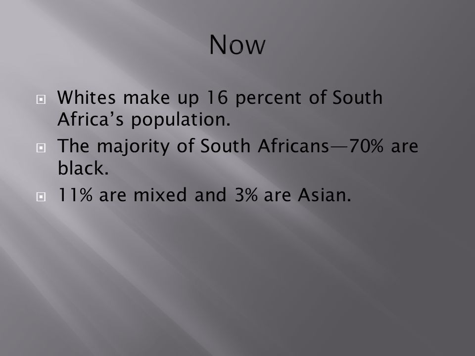 Now Whites make up 16 percent of South Africa's population.