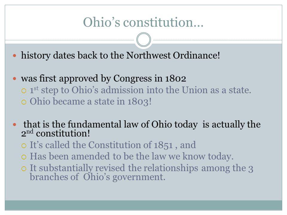 Ohio's constitution… history dates back to the Northwest Ordinance!