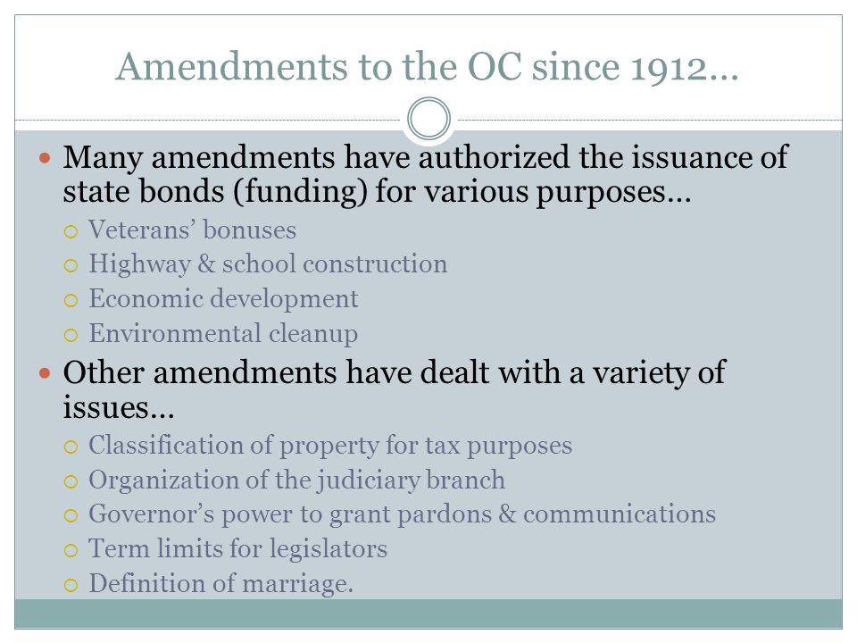 Amendments to the OC since 1912…