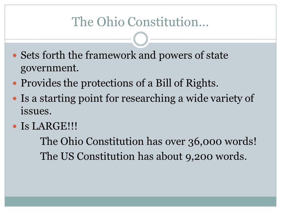 The Ohio Constitution…