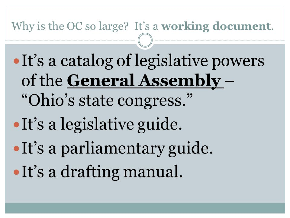 Why is the OC so large It's a working document.