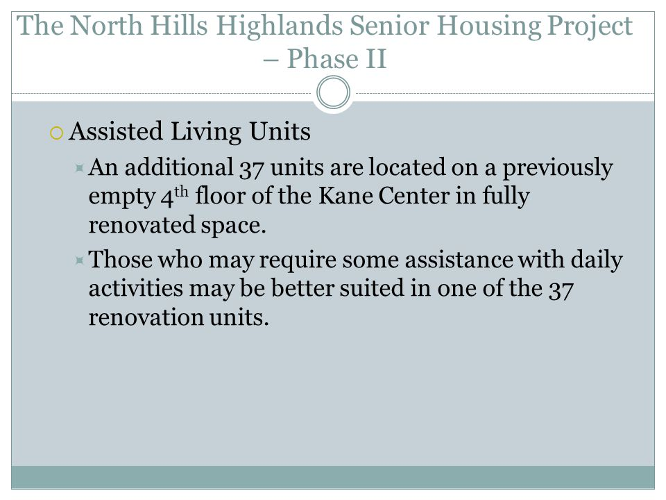 The North Hills Highlands Senior Housing Project – Phase II