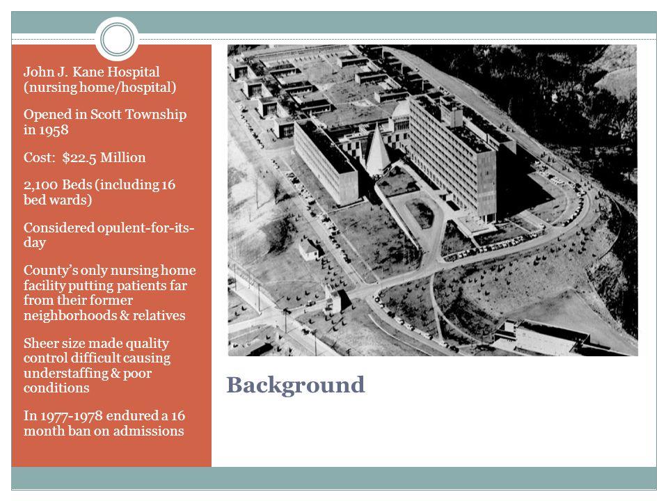 Background John J. Kane Hospital (nursing home/hospital)