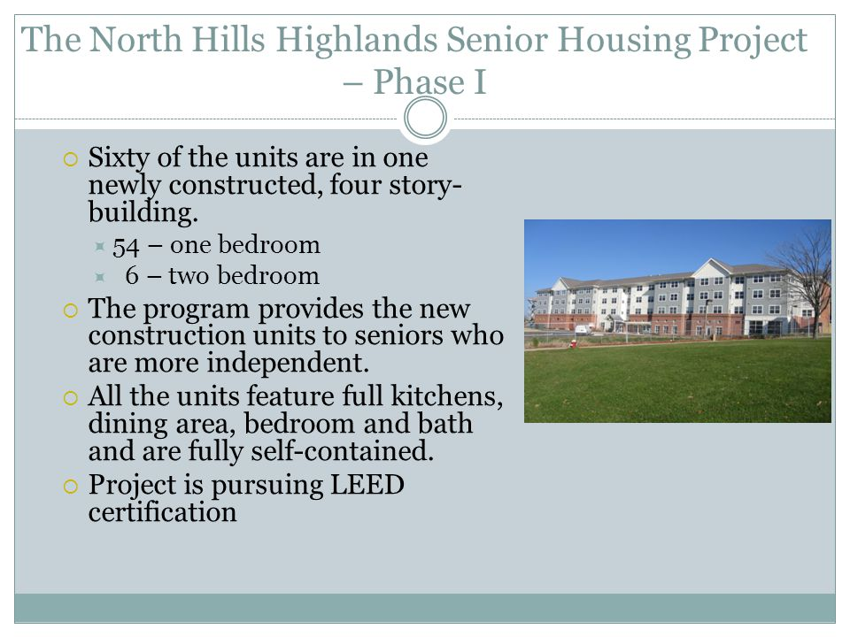 The North Hills Highlands Senior Housing Project – Phase I