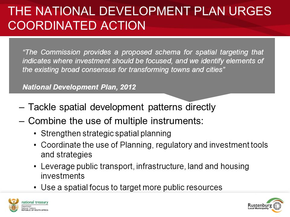 The National Development Plan urges coordinated action