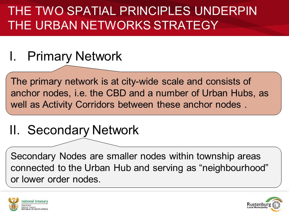 THE TWO SPATIAL PRINCIPLES UNDERPIN THE URBAN NETWORKS STRATEGY