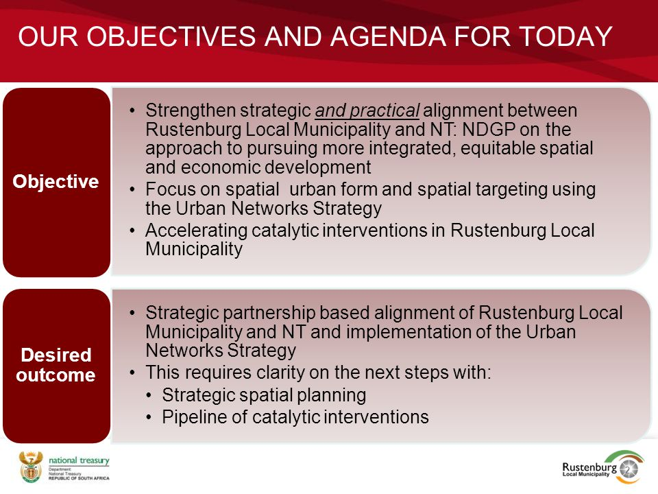 Our objectives and agenda for today