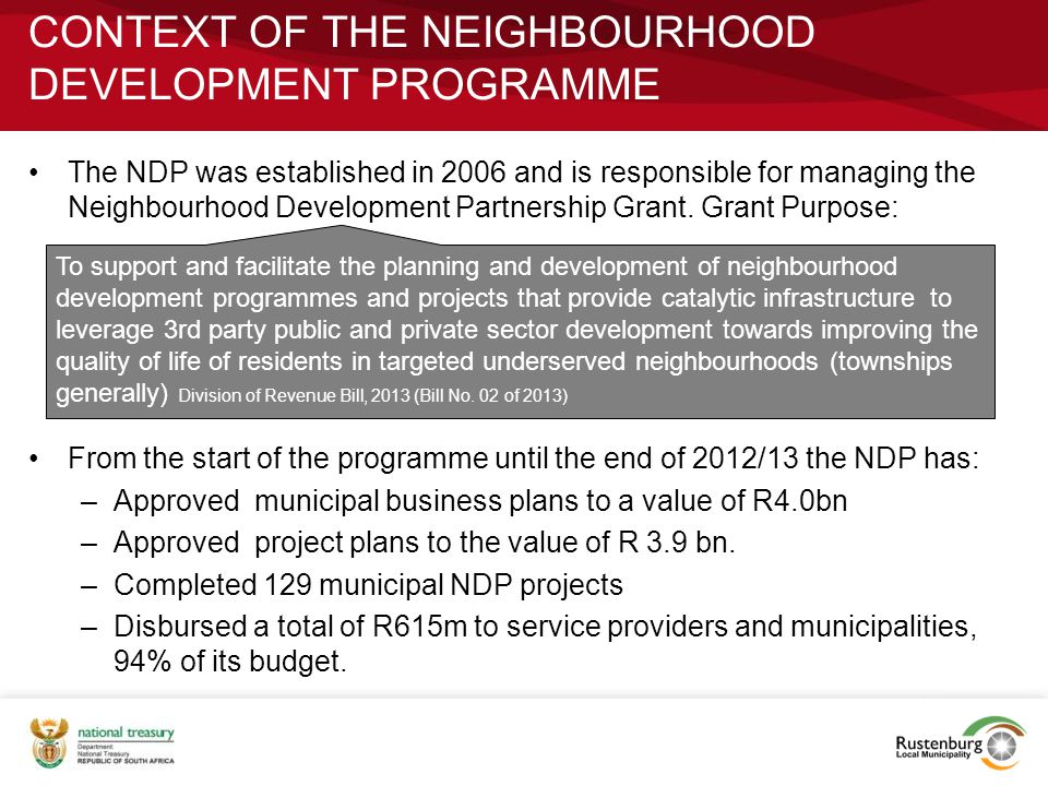 CONTEXT OF THE NEIGHBOURHOOD DEVELOPMENT PROGRAMME