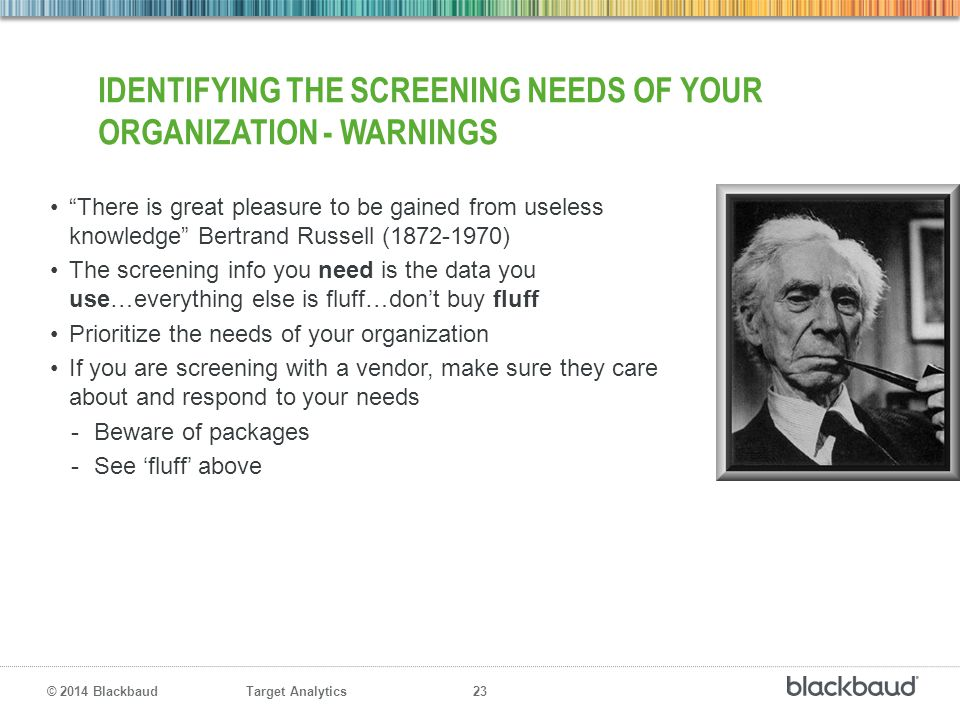 Identifying the Screening Needs of Your Organization - Warnings