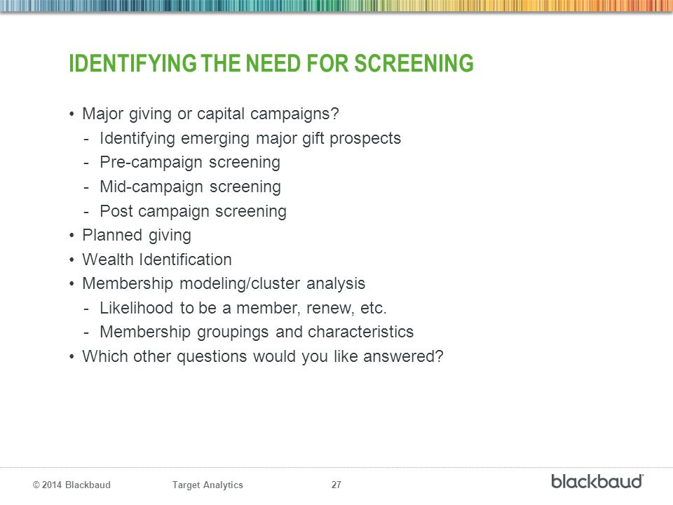 Identifying the Need for Screening