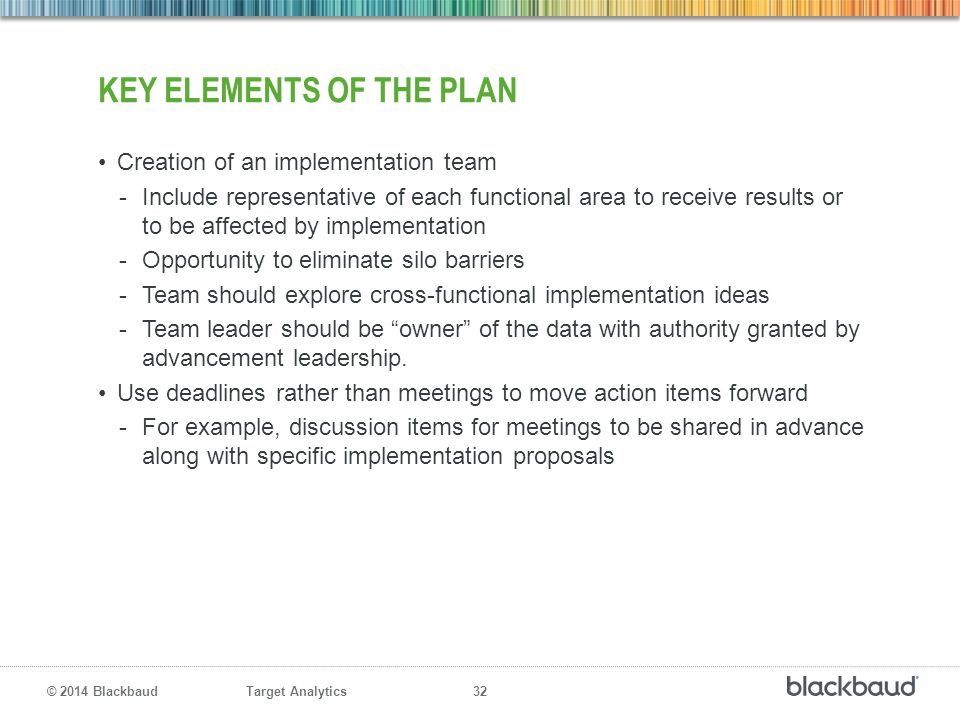 Key Elements of the Plan