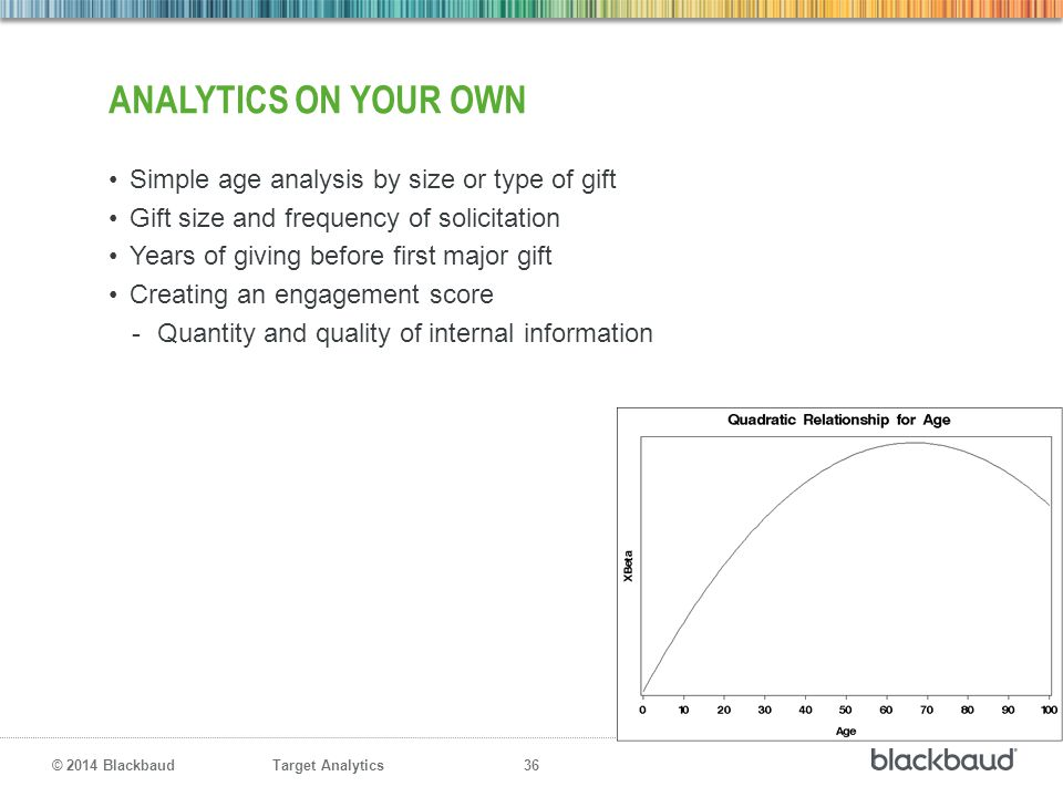 analytics on your Own Simple age analysis by size or type of gift