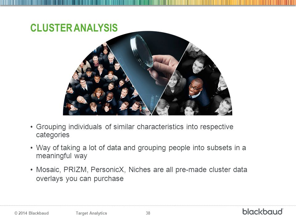 Cluster Analysis Grouping individuals of similar characteristics into respective categories.