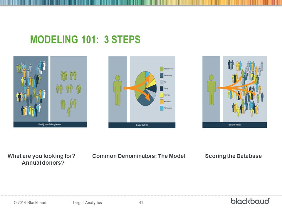 MODELING 101: 3 STEPS What are you looking for Common Denominators: The Model Scoring the Database.